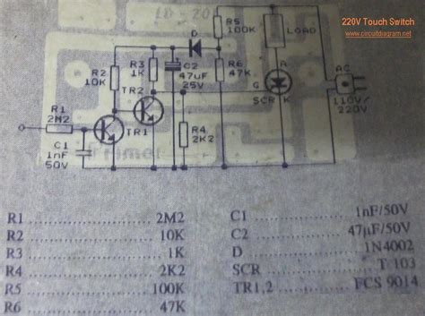 touch switch circuit schematic