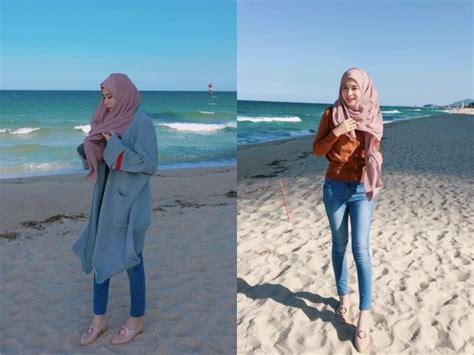outfit   pantai hijab