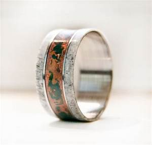 men39s wedding band w antler and patina copper ring With mens copper wedding rings