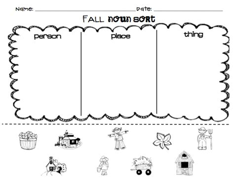 Kindergarten Superkids Fall Noun Sort (free For Followers