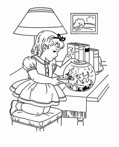 Winter Coloring Activities Feeding Indoor Goldfish Pages
