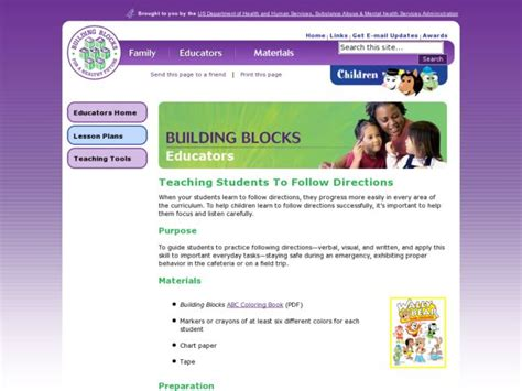 teaching students to follow directions lesson plan for pre