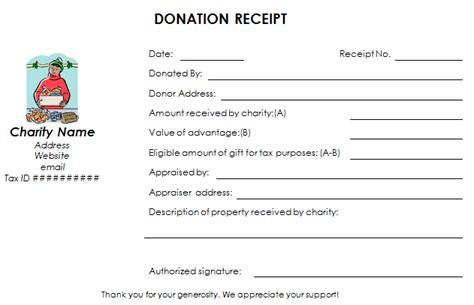 charitable donation receipt template nonprofit donation receipt template