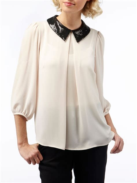 sequin blouses skopes sequin collar blouse in white lyst