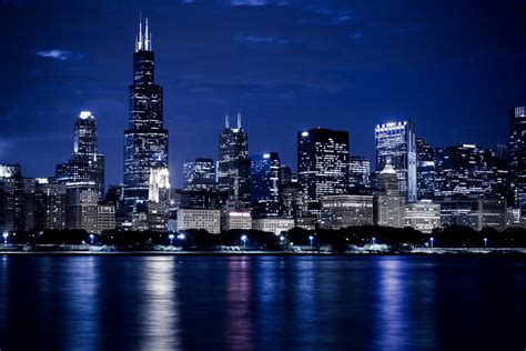 pictures of chicago skyline at night free stock photo public domain pictures