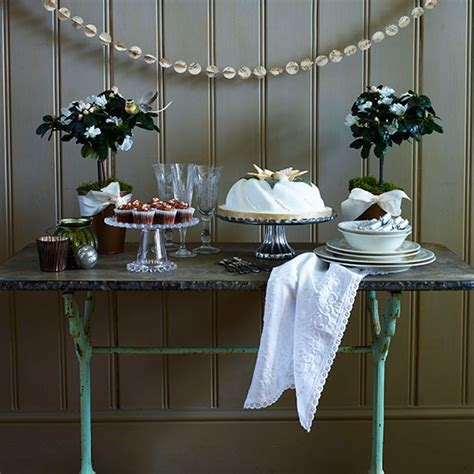 christmas display table  glass cake stands country