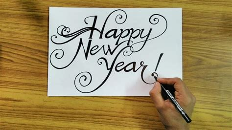 write happy  year   style calligraphy