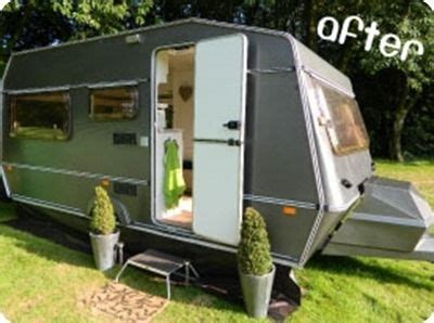 caravan makeover painting the outside with exterior silver paint love it caravans cer