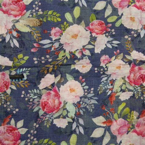 Loulou Lollipop Floral Print Baby Quilt Swaddle In Blue