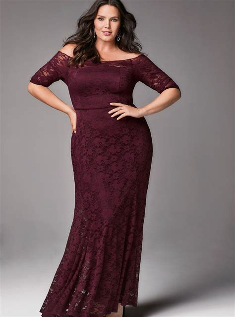 special occasion burgundy lace  shoulder maxi dress