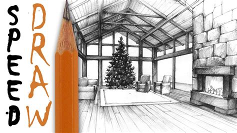 living room  perspective speed drawing christmas