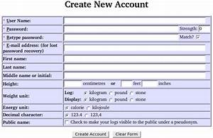The hacker39s diet online for User creation form template