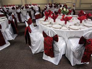 black banquet chair covers white and black table set the mood decor