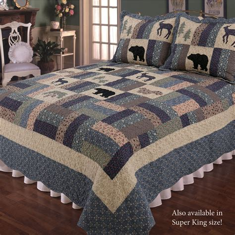 highlands rustic wildlife patchwork quilt bedding