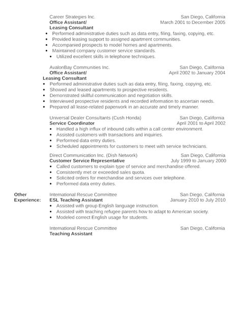 Leasing Resume Templates by Basic Leasing Consultant Resume Template Page 2