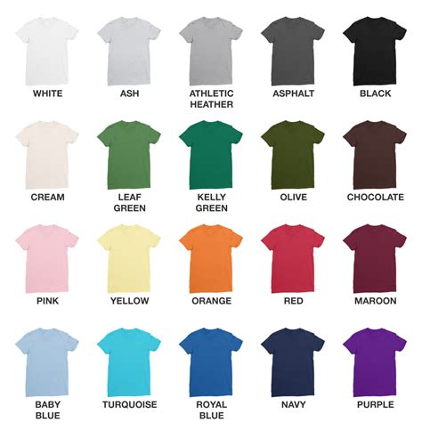 shirt colors t shirts design concept