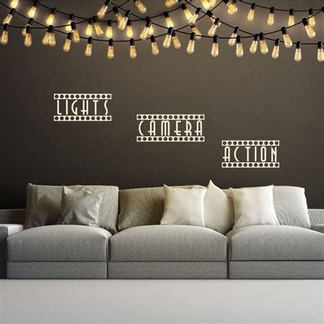 We sell unique home theater decor (home theatre decor) items such as: Light Camera Action Quote Wall Decals | Movie room decor ...
