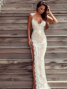 2017 sexy beach wedding dresses with high side slit lace With sexy beach wedding dress
