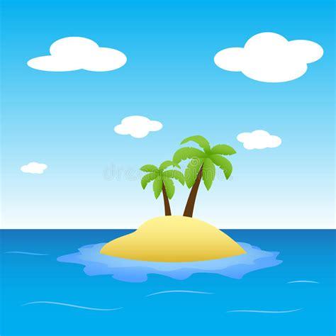 illustration von insel mitten  ozean mit zwei palmen