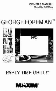 George Foreman Gr70can Owner U0026 39 S Manual Pdf Download