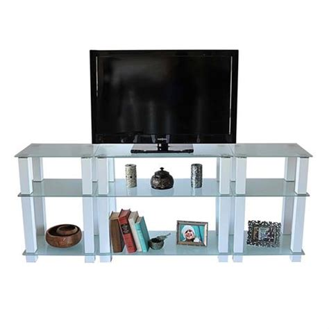 frosted glass tv cabinet rta frosted glass 75 inch tv stand with side storage