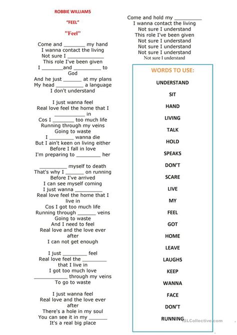 present simple song feel robbie williams worksheet