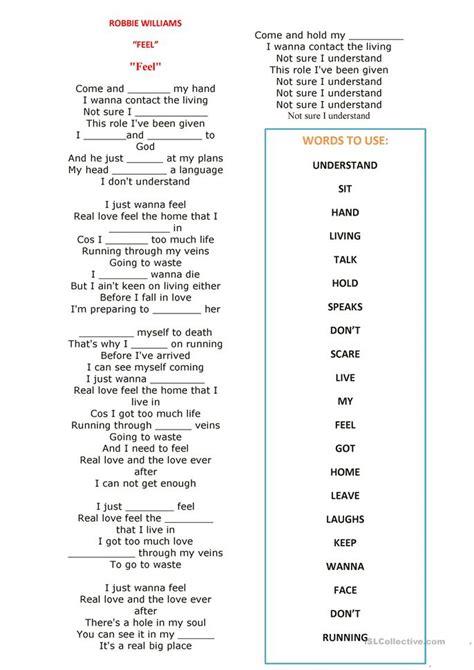 present simple song feel robbie williams worksheet  esl printable worksheets