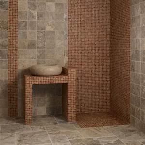 enchanteur carrelage travertin salle de bain et mosaaque With mosaique pierre naturelle salle de bain