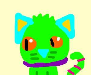 Neon cat drawing by LilGalaxy