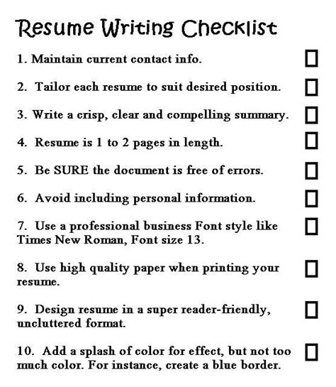Resume Checklist For College Students by Bartender Resume