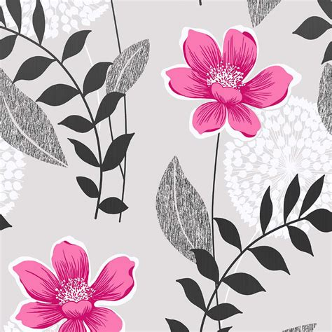 grey  pink floral wallpaper gallery