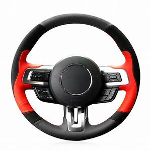 Loncky Auto Custom Fit OEM Black Red Leather Black Suede Steering Wheel Covers for Ford Mustang ...