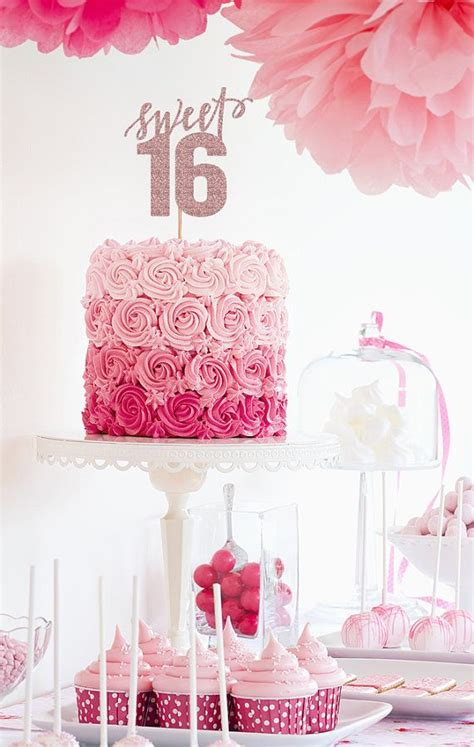 Pink Sweet Sixteen 16 Birthday Number Cake Topper Pink Sweet