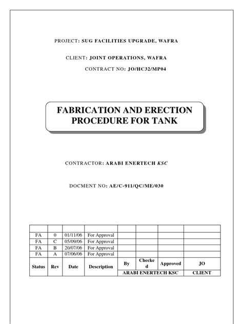 Tank Erection Procedure | Framing (Construction) | Metal
