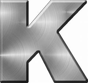 Presentation alphabets brushed metal letter k for Metal letter k
