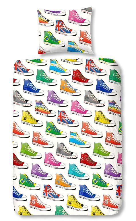 1 persoons dekbed flanel sneakers flanel dekbedovertrek