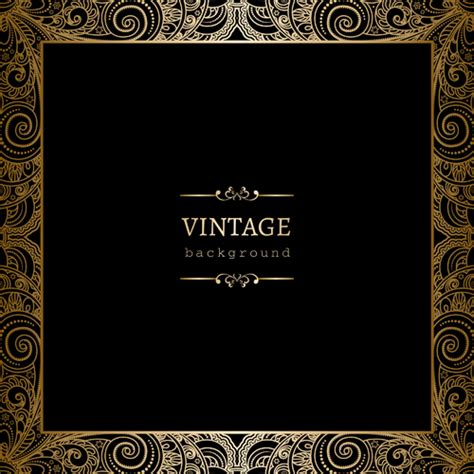 black  golden vintage background art vector