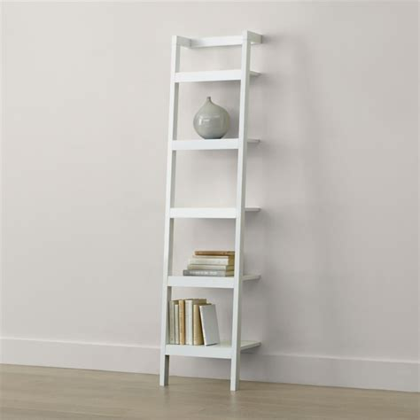 sawyer white leaning  bookcase reviews crate  barrel