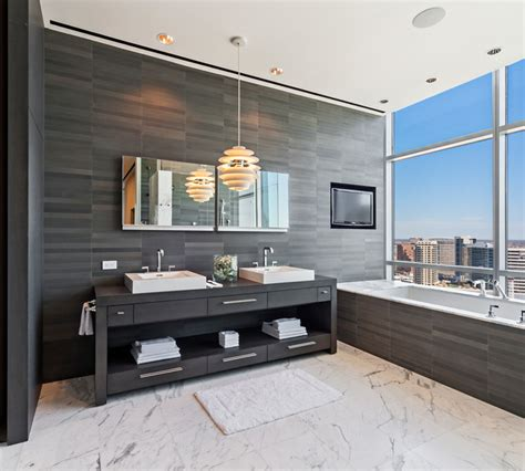Modern Master Bathroom Vanities by Uptown Penthouse 2 Modern Bathroom Vanities And Sink