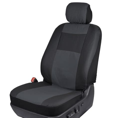 Black & Charcoal Gray Pu Leather Car Seat Covers W Vinyl