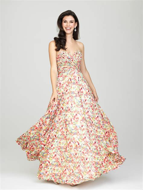 Size 12 Pink Yellow Allure 1440 Subtle Floral Bridesmaid