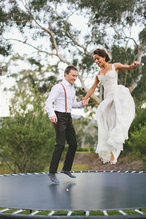 trampoline bride  groom pictures   images