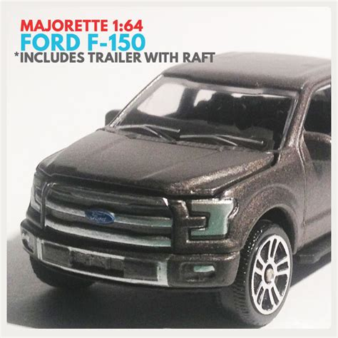 ford f 150 truck trailer with raft majorette 1 64