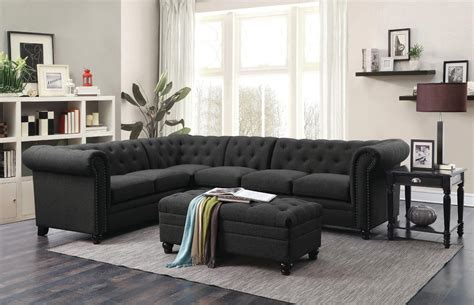 grey linen sectional  tufted