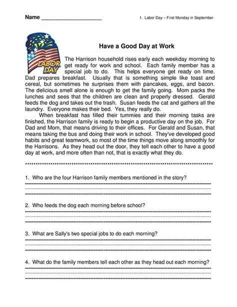 short story with comprehension questions english reading