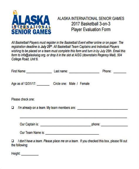 9 basketball evaluation form sles free sle exle format