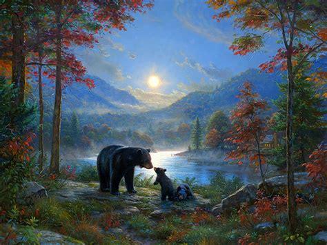 bedtime kisses lakes bears animals moon moonlight scenery