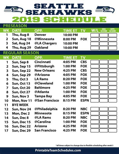 seattle seahawks schedule printable tv schedule