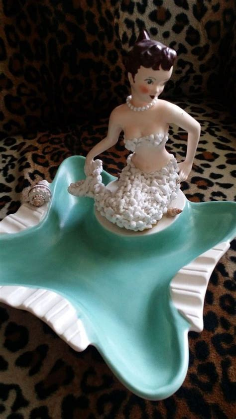 vintage mermaid dish ashtray shells california usa