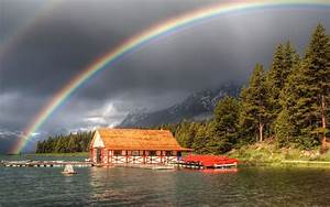 Rainbow And Dark Clouds Awesome Scenery Hd Wallpaper 01544